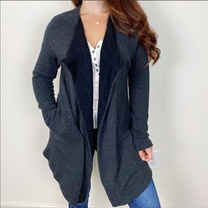 GAP Charcoal French Terry Cardigan Sweater Jacket